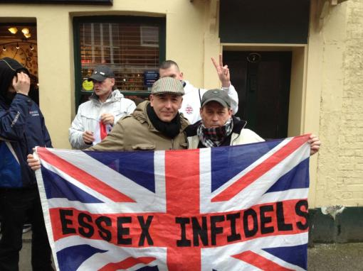 Dave clenching hard with a supporter from Essex