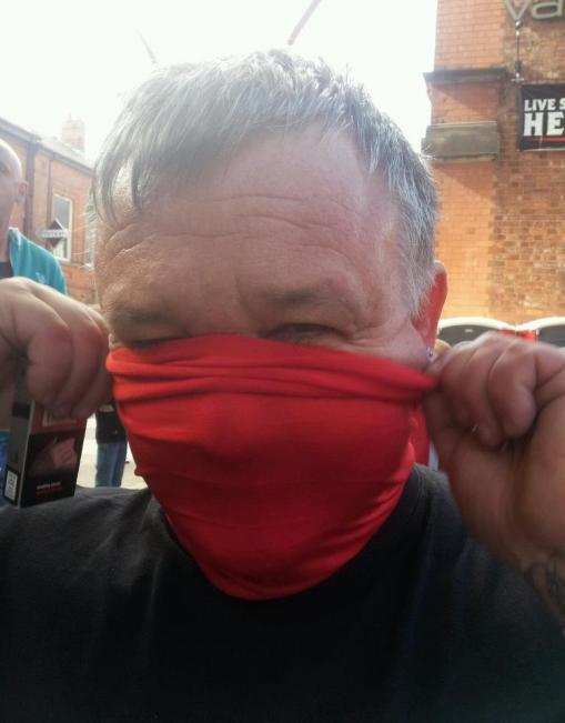 Joker - Bayliss masks up in Portsmouth on route to Brighton