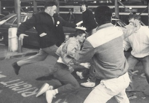 """Anti-Apartheid picket, S. African Embassy. """"AFA supporters beat off a Nazi attack in Trafalgar Square after a Rememberance Sunday Demonstration"""""""