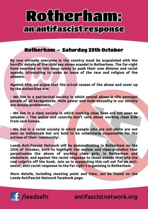 The leaflet produced by Leeds AFN advertising the event.