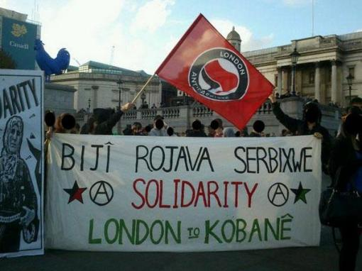 London Antifascists in solidarity with the Kurdish Resistance to ISIS.