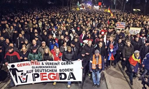 """Pegida"" marching in Dresden last month."