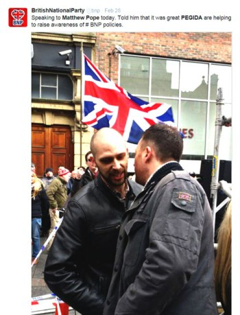 PEGIDA UK leader Matt Pope is buddies with the leader of the BNP