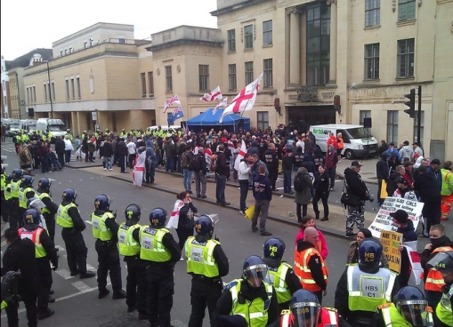 The pitiful EDL turnout, around 150