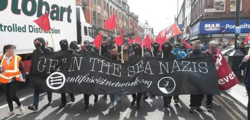 The Anti-Fascist Network on the march in Liverpool.
