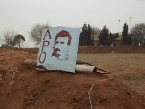An Image of imprisoned Kurdish leader Abdullah Öcalan. Such images are widespread across Rojava.