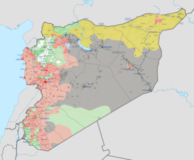 Syria in December 2016. Yellow is Rojava, Red the Syrian Government, Green the Syrian Opposition, Grey: ISIS, White the Al-Nusra Front. Map by Ermanarich from Wikipedia